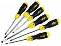 Stanley Cushion Grip Screwdriver Set 6pc 5-98-001 £17.99 The Stanley 598001 Is A Set Of 6 Cushion Grip Screwdrivers. Each Screwdriver Has A Corrosion Resistant, High Grade Chrome Plated Steel Bar Which Provides Added Strength And Helps To Reduce The Chance
