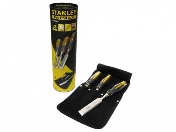 Stanley Tools FatMax Bevel Edge Chisel with Thru Tang Set of 3: 12, 18 & 25mm in Roll