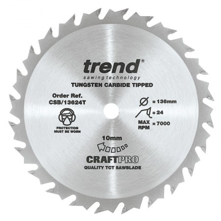 Trend CSB/13624T Craft Saw Blade 136 X 24T X 10 THIN