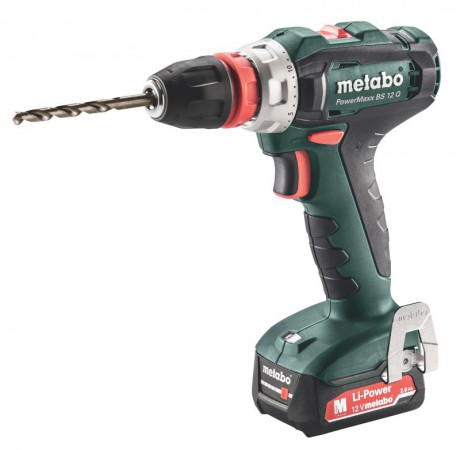 Metabo PowerMaxx BS 12 Q Drill/Driver 2 x 12V 2.0Ah, SC30 Charger, Carry Case
