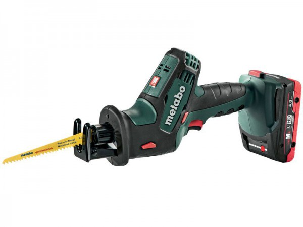 Metabo SSE 18 LTX Compact 18V Cordless Sabre Saw with 2 x 4.0Ah LiHD Batteries, Charger & Case