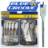 IRWIN 4X BLUE GROOVE FLAT DRILL BIT  8PCE SET £23.99 The Irwin 4x Blue Groove Flat Bits Have A Patented Groove Point, And Cutting Edge Designed To Cut And Not Scrape The Timber 4 Times Faster Than Standard Flat Bits. The Parabolic Scoop Optimises Contro