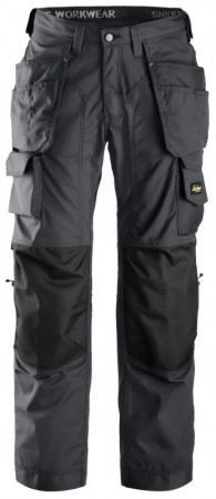 Snickers 3223 Floorlayer Holster Pocket Trousers, Rip-stop, Steel Grey/black