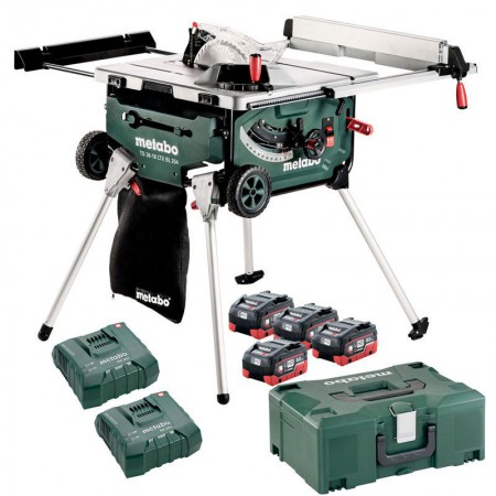 Metabo TS 36-18 LTX BL 254 Cordless Table Saw with Stand/Trolley Function, 4 x 8.0Ah, 2 x Chargers (Class 9 Delivery)