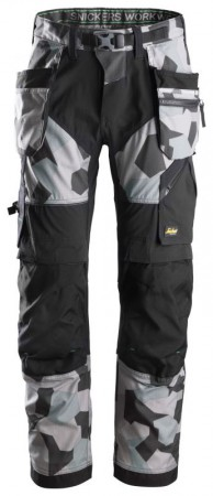Snickers 6902 FlexiWork, Work Trousers+Holster Pockets, Grey Camo/Black