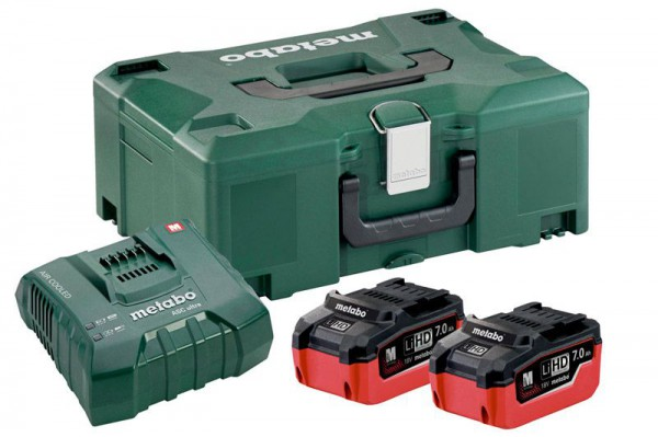Metabo Basic-Set 2 x 18V LiHD  7.0Ah Battery Packs &  ASC Ultra Charger + MetaLoc Case (Class 9 Delivery)