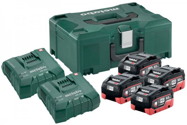 Metabo Basic Set LiHD 4 x 8.0Ah, 2 x Chargers and MetaLoc Case (Class 9 Delivery)
