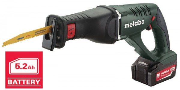 METABO ASE18 18V  PowerExtreme  Reciprocating Saw 2 x 5.2Ah Li-ion, ASC30 min Charger