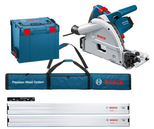 Bosch GKT55GCE 240V 1400W Professional Plunge Saw & 2 x 1.6m Guide Rail & Connector + Guide Rail Bag