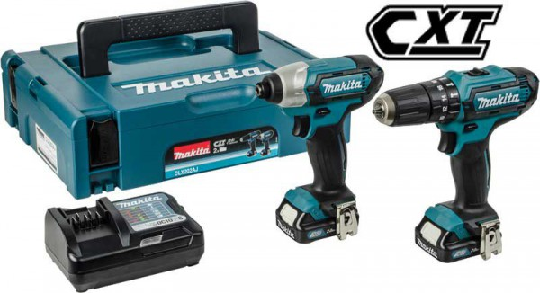 Makita CLX202AJ 10.8V CXT Combi and Impact Driver 2 Piece Kit 2 x 2.0Ah Batteries