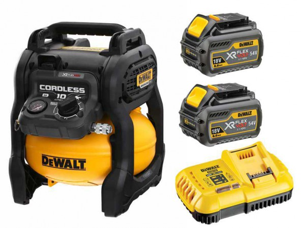Dewalt DCC1054T2-GB 54V XR  FLEXVOLT Cordless Compressor With 2 x 6.0Ah Batteries