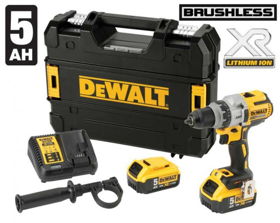 Dewalt DCD991P2 18V XR Brushless 3 Speed Drill Driver - 2 x 5.0ah & TStak Case