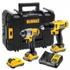 Dewalt DCK218D2T-GB 10.8V Kit NEW 10.8v Combi, Impact Driver 3 x 2.0Ah Batteries, Charger & TSTAK (3rd Extra Battery!!) £199.95