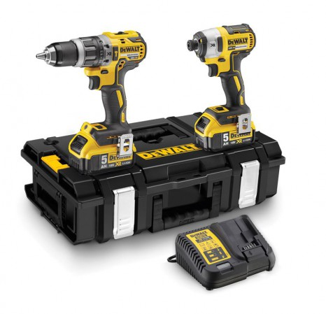 Dewalt DCK266P2 XR 18V Brushless Twin Pack  DCD796 Combi + DCF887 Impact Driver 2 x 5.0Ah Batteries & ToughSystem Case