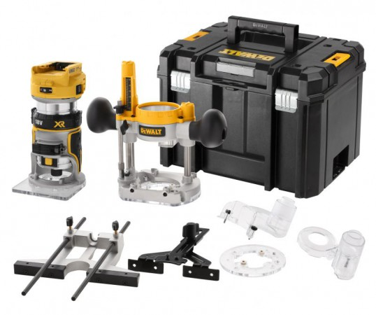 "Dewalt DCW604NT 18V XR Brushless ¼"" & 8mm Router Fixed & Plunge Bases - Bare Unit With T-Stak Case"