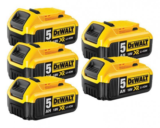 Dewalt DCB184 18V 5 x 5.0Ah XR-Lion Battery (Pack of 5)