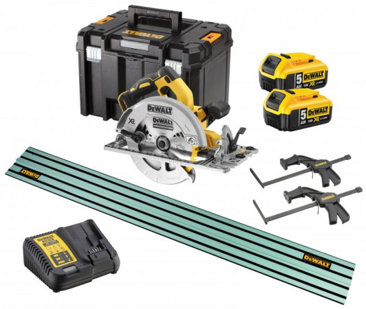 Dewalt DCS572 18v XR 184mm Brushless Circular Saw - 2 x 5.0Ah Batts, Charger,T-Stak Case,1.4M Guide Rail & Clamps