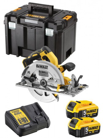 Dewalt DCS572 18v XR 184mm Brushless Rail Compatible Circular Saw - 2 x 5.0Ah Batts, Charger & T-Stak Case