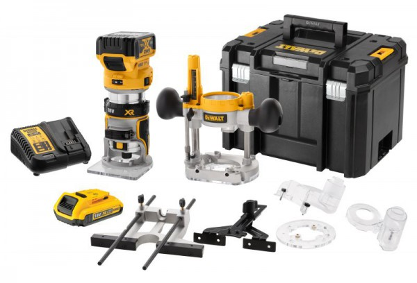 "Dewalt DCW604NT 18V XR Brushless ¼"" & 8mm Router With 1 x 18V 5.0Ah & 2.0Ah Batteries, Charger & T-Stak Case"