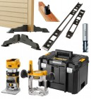 "Dewalt DCW604NT 18V XR Brushless ¼"" & 8mm Router & 2 x Bases - Bare Unit With T-Stak Case & Hinge Jig Package £509.95"