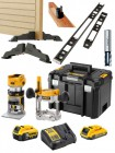 "Dewalt DCW604NT 18V XR Brushless ¼"" & 8mm Router With 1 x 18V 5.0Ah & 2.0Ah Batteries, Charger, Case & Hinge Jig Package £624.95"