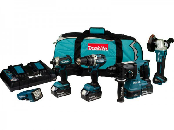 Makita DLX5042PT 18V Brushless 5pc Kit With 3 x 5.0Ah Batteries, Twin Charger & Carry Bag