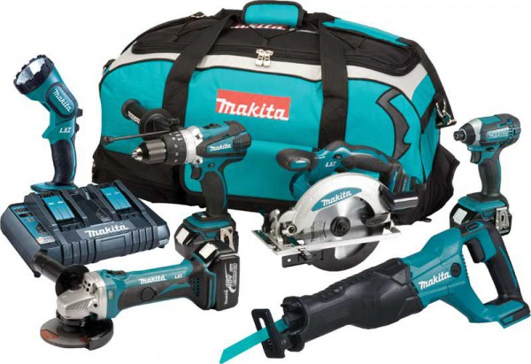 Makita DLX6072PT 18V LXT 6 Piece Kit  With 3 x 5.0Ah Li-Ion Batteries, Dual Port Charger