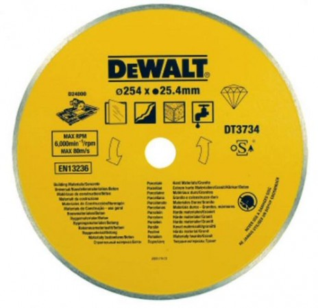Dewalt DT3734 Hard Materials Diamond Tile Blade 254 x 25.4mm For D24000