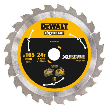 Dewalt DT99560-QZ Xtreme Runtime 165mm x 20mm 24T Circular Saw Blade For DCS520