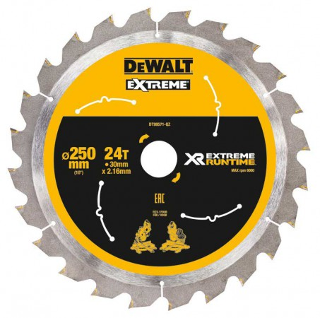 Dewalt DT99571-QZ Xtreme Runtime 250mm x 30mm 24T Circular Saw Blade For DCS778