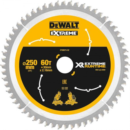 Dewalt DT99573-QZ Xtreme Runtime 250mm x 30mm 60T Circular Saw Blade For DCS778