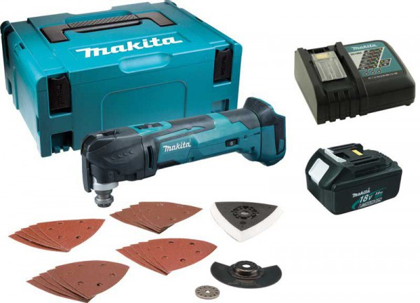 Makita DTM51 18V Multi-tool Quick Change With Charger & 1 X 3.0ah Battery Makpac Case & Accessory Kit