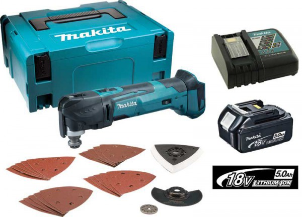 Makita DTM51 18V Multi-tool Quick Change With Charger & 1 X 5.0ah Battery Makpac Case & Accessory Kit