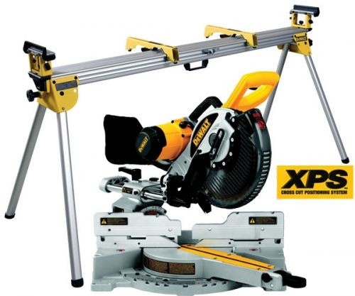 DEWALT DW717 XPS 240V 250MM DOUBLE BEVEL SLIDING MITRE SAW WITH CUT-LINE SYSTEM & DE7023 LEGSTAND