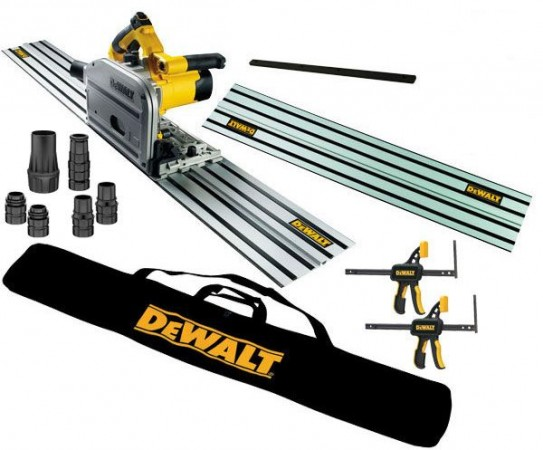 Dewalt DWS520KR 240v Plunge Saw +  2 x 1.5m Rails + Connector + Guide Rail Bag + Pair Of Clamps & DWV9220 Kit
