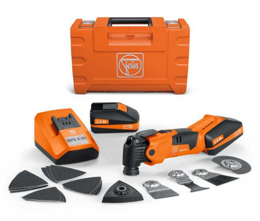 Fein AFMM18QSL18v Cordless StarLock Multimaster With 2 x 2.5Ah Batteries, Charger & Case