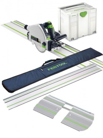 FESTOOL 561584 TS55REQ-PLUS-FS 110V 160MM PLUNGE SAW + SYSTAINER + 2 x 1.4M RAILS, 2 x CONNECTORS & RAIL BAG