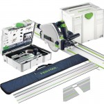 FESTOOL 561583 TS55REBQ-PLUS-FS 240V 160MM PLUNGE SAW + SYSTAINER + 2 x 1.4M RAILS, RAIL BAG &  ACCESSORY KIT £659.95