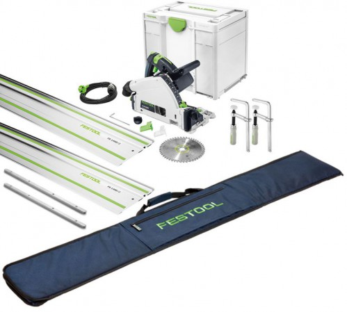 Festool 576009 TS55REBQ-PLUS-FS 240V 160MM Plunge Saw With T-loc Systainer Case Plus 2 X 1.4m Guide Rail, 2 X Connectors