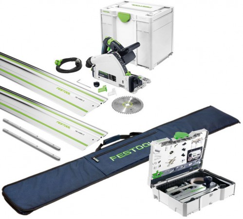 Festool 576009 TS 55 REBQ-Plus-FS 240V 160MM Plunge Saw With Systainer SYS3 Case Plus 2 X 1.4m Guide Rail, Rail Bag & Ac