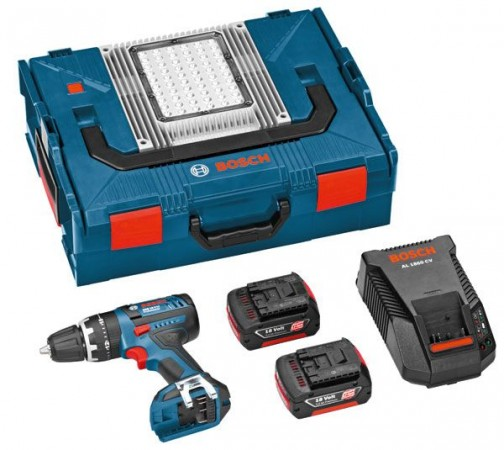 BOSCH GSB18 V-Li 18VOLT DYNAMIC SERIES COMPACT COMBI HAMMER WITH 2 X 3.0Ah  LITHIUM-ION & L-BOXX WITH PORTAL LED LIGHT