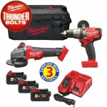 Milwaukee M18SET2H-503W M18 18V Fuel Grinder & Combi Hammer Drill Twin Pack With 3 x 5.0Ah Li-Ion Batteries, charger & C £499.95