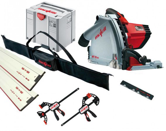 Mafell MT55CC 240v Plunge Saw with 2 x 1.6m Guide Rails  + Connector + 2 x  Clamps & Rail Bag