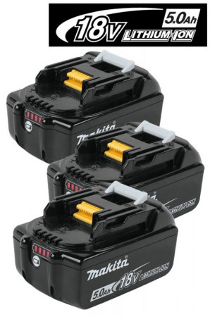 Makita BL1850B 18V 5.0Ah Li-ion Battery Pack With LED Battery Indicator (PACK OF 3)