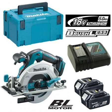 Makita DHS680 18v Brushless Circular Saw 165mm With 2 x 5.0Ah Batteries, Charger & MakPac Case