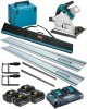 Makita DSP600ZJ LXT 2x18v (36V) BL Cordless Plunge Saw,MakPac Case - Plus 4 x 5.0Ah Batteries, Twin Charger & Rail Kit £789.95 Makita Dsp600zj 18v Lxt 2 X 18v (36v) Brushless Cordless Plunge Saw with Makpac Case - Plus 4 X 5.0ah Batteries, Twin Port Charger & Rail Kit