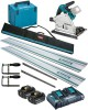 Makita DSP600ZJ LXT 2x18v (36V) BL Cordless Plunge Saw,MakPac Case - Plus 2 x 5.0Ah Batteries, Twin Charger & Rail Kit £689.95 Makita Dsp600zj 18v Lxt 2 X 18v (36v) Brushless Cordless Plunge Saw with Makpac Case - Plus 2 x 5.0ah Batteries, Twin Port Charger & Rail Kit