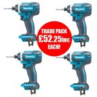 Makita DTD152Z 18V LXT Impact Driver BODY ONLY - Trade Pack Of 4 £209.00