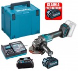 Makita GA005GD101 40V MAX XGT 125mm Brushless Angle Grinder With Slide Switch, 1x 2.5Ah Battery, Charger & Adaptor (for  £359.95