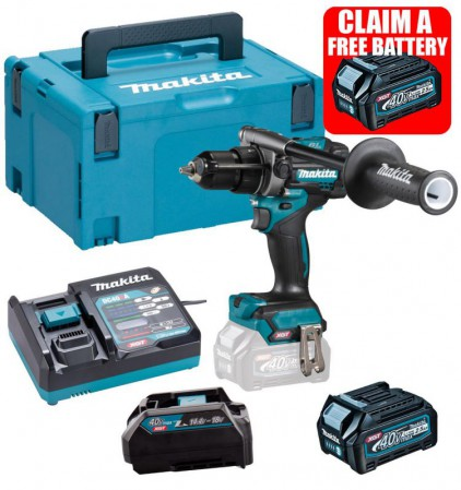 Makita HP001GD102 40V MAX XGT Brushless Combi Drill With 1x 2.5Ah Battery, Charger & Adaptor (for LXT) & Case